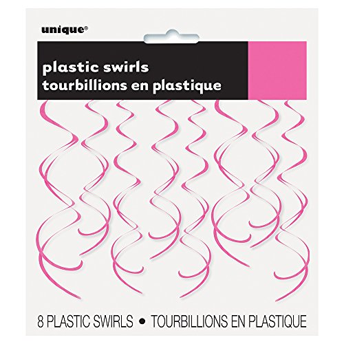 Unique Party- Paquete de 8 decoraciones colgantes en espiral de plástico, Color rosa oscuro, 66 cm (63276)