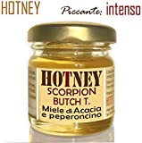 HOTNEY SCORPION BUTCH T Miele Piccante INTENSO di Acacia Italiano Peperoncino Infuso Vaso Vetro 40g