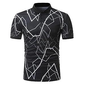 Manadlian Herren T-Shirts Mehrfarbig Sommer Junge Tops Herren Tasten Design Hälfte Strickjacken Kurzarm Slim FitLässiges T-Shirt