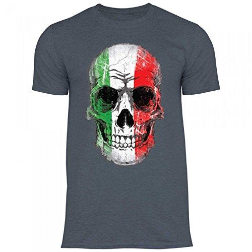 Royal Shirt df16 Herren T-Shirt Italien Italy Flagge   WM EM Fußball Totenkopf Trikot, Größe:XL, Farbe:Dark Heather