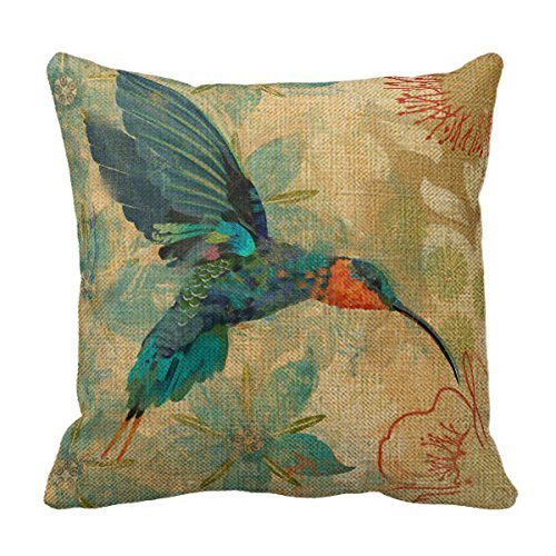SIXSTARS Cotton Linen Square Fashion Blue Orange Hummingbird Bird Teal Aqua Red Flowers Pillowcases 20 inch X 20 inch