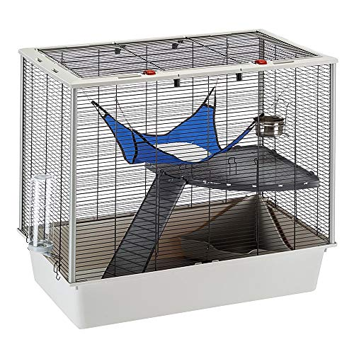 Ferplast Confortable Jaula para Hurones y Ratones FURAT, Estructura en Varios Niveles con Accesorios incluidos, Esquinas reforzadas, Alambre Barnizado Negro y plástico, 78 x 48 x h 70 cm