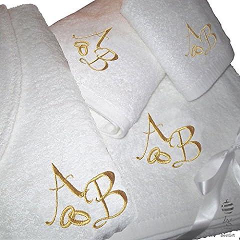 5Sterne Qualität Personalisierte eine Hochzeit Jubiläums-Set–Bad Handtücher und Bademantel mit Gold Stickerei, 100 % Baumwolle, weiß, M