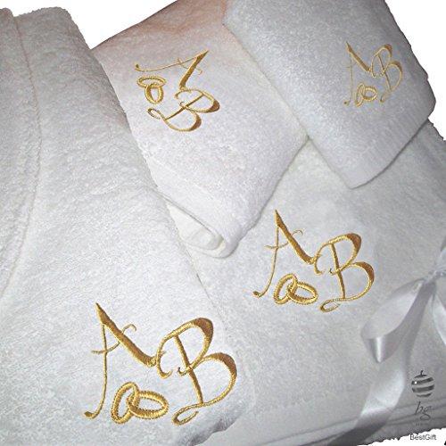 5stelle top quality personalizzato regalo di nozze anniversario oro–set di asciugamani da bagno e accappatoio con ricamo, 100% cotone, white, large