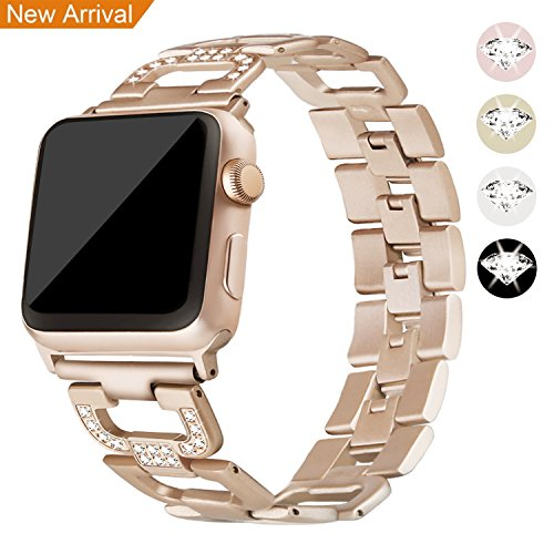 Für Apple Watch Metall Armband 42mm, Mornex Edelstahl Armbänder Ersatz Zubehör für Iwatch, Gliederarmband mit Kristall Edition,universelles Design für Apple Watch Series 3, 2 und 1,Champagne Gold