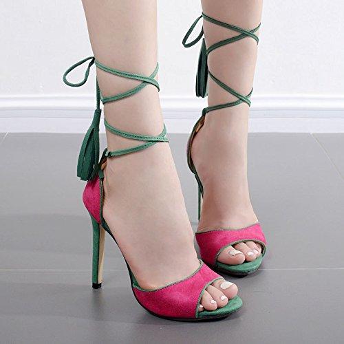 ZYUSHIZ Die High-Heel Schuhe Sandalen Western Gurte die Fein mit Tdesktop zeigen Frau Sandalen Hausschuhe 39EU
