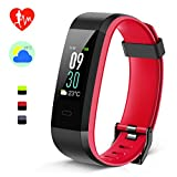 Kungber Fitness Tracker, Farbdisplay & Doppelte Farbe Fitness Armband, Wetter Temperatur Puls Schlaf Monitor IP68 Wasserdicht Smartwatch Anruf SMS Push für Damen Herren Android iOS