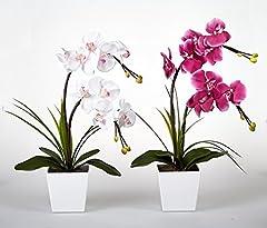 Idea Regalo - Floristlighting LED illuminato orchidea artificiale arrangement-battery Operated vaso per orchidee con 9luci White