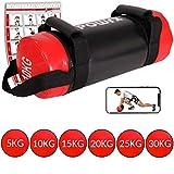 POWRX Power Bag 5-30 kg Kunstleder Fitness Bag für Functional Fitness (10 kg Schwarz/Rot)
