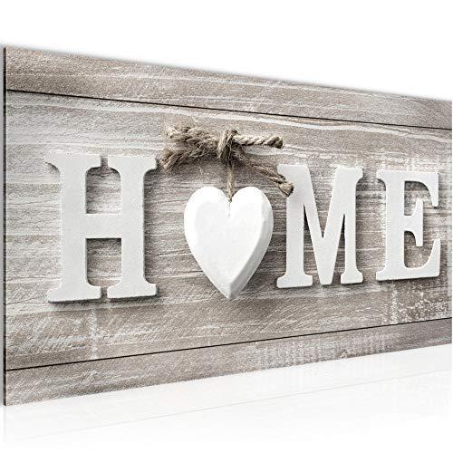 Bilder Home Herz Wandbild 100 x 40 cm Vlies - Leinwand Bild XXL Format Wandbilder Wohnzimmer Wohnung Deko Kunstdrucke Braun 1 Teilig - Made IN Germany - Fertig zum Aufhängen 504412a -