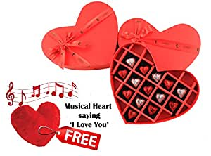 ZOROY Luxury Chocolate 14 Milk Hearts Valentines Day Gift For Her Chocolates In A Heart Box - 150 Gms With Free Musical Heart