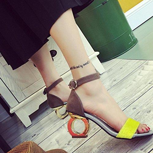 DM&Y 2017 Spesso personalit¨¤ tacco alto profilo con smerigliato con la parola scarpe open toe sandali sexy Yellow