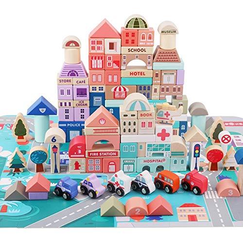Rain City 2019 Stadtverkehr Kinder Bausteine, 115 Holzklötzen mit Transport und Verkehrszeichen, Stadt Puzzles und Speicher-Beutel für Kinder über 3 Jahre alt