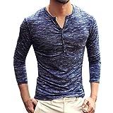 Herren Langarmshirt Henley Freizeithemd Mode Longsleeve Henley Slim Fit T-Shirt Oberteile Basic Casual Pullover Sweatshirt Fitness Shirt Herbst Winter Bekleidung von Innerternet
