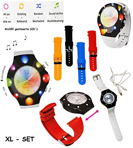 XL Set: Disco Watch - Armbanduhr mit LED - Licht _ incl. 5 Verschiedene Paare WECHSEL - Armbänder - Uhr blinkt auch im Rhythmus zur Musik - mit USB Anschluß &.. ()