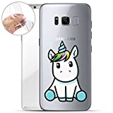 finoo   Samsung Galaxy S8 Weiche flexible Silikon-Handy-Hülle   Transparente TPU Cover Schale mit Motiv   Tasche Case Etui mit Ultra Slim Rundum-schutz   Einhorn