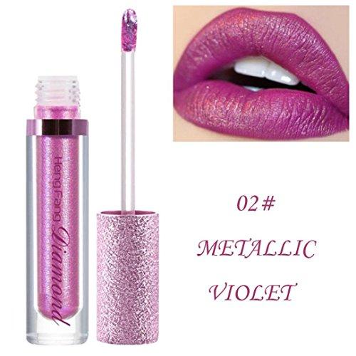 Rouge à Lèvres, Tefamore Diamants Shimmer Lipstick Imperméable Longue Durée Maquillage cosmétique de Beauté de Lèvre (2#)