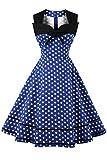 Axoe Damen 60er Jahre Polka Dot Retro Vintage Rockabilly Kleider Abendkleider Elegant für Hochzeit