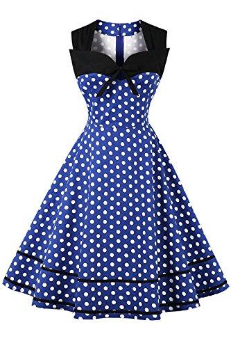 Axoe Damen 60er Jahre Polka Dot Retro Vintage Rockabilly Kleider Abendkleider Elegant für Hochzeit Blau Gr.38