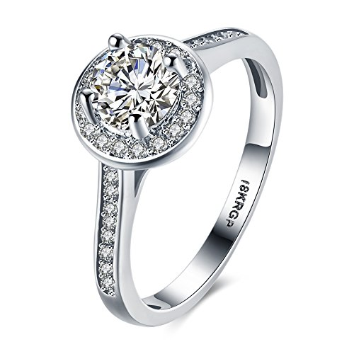 Skyllc® Modische 18K RGP Göttin Trauringe Vergoldete Ring Eternity Verpflichtungs Finger Ringe - US8