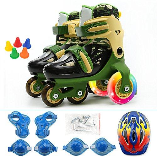 WANG-L Rollschuhe Baby Kleinkinder Rollerblades Set 2-10 Jahre Alte Jungen Und Mädchen Anfänger Einstellbar Zweireihig Schlittschuh,Green-M