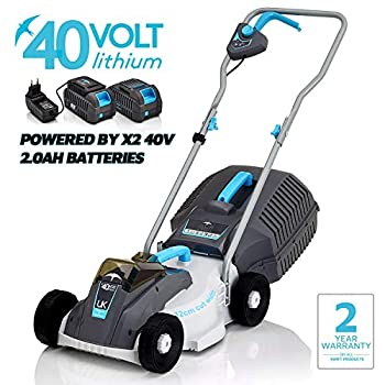 Swift 40 V EB132C22 Cordless Digital Compact Lawn Mower Cutting Width 32 cm,with 2 x Batteries and 1 x Charger