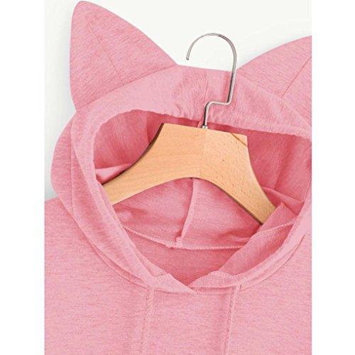 Yogogo Aux Femmes Chat Manche Longue Sweat à Capuche Sweat-Shirt Encapuchonné ArrêTez-Vous Tops Chemisier pink