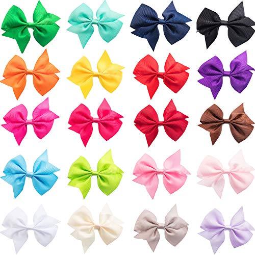 3,5 Zoll Ripsband Haarschleife Clips Boutique Haare Bögen Haarschmuck für Mädchen (20 Stück)