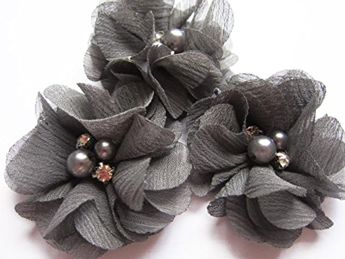 YYCRAFT 20 Stück Chiffon Blumen mit Strass und Perlen Hochzeit Dekoration/Haar Accessoire Handwerk/Nähen Craft(Dunkelgrau,5cm) (Stoff Schuhe Blume)