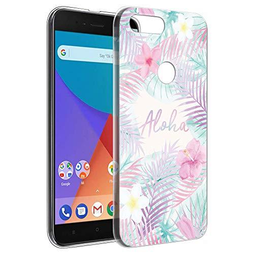 Pnakqil Funda Xiaomi Mi A1, Silicona Transparente con Dibujos Diseño Slim Gel TPU Antigolpes Ultrafina de Protector Piel Case Cover Cárcasa Fundas para Movil Xiaomi MiA1, Hoja Aloha