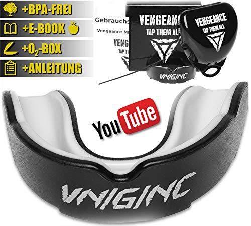Vengeance MMA Premium Mundschutz | inklusive Video-Tutorial | + Hygienebox + Namensschild + E-Book(HCG-Diät) | MMA, Krav MAGA, BJJ, Boxen, Kickboxen | Zahn- und Kieferschutz | universell (Boxen Mundschutz)
