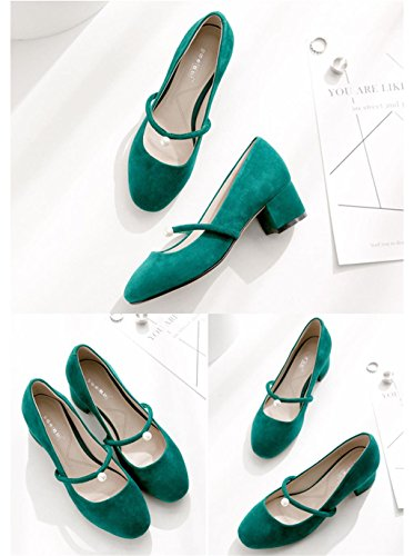 ALUK- Printemps Et Été - Bouche Peu Proche Avec Une Chaussures Simple ( couleur : Le vert foncé , taille : 39 ) Le vert foncé
