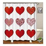 Amody Duschvorhang Hearts 3D-Digitaldruck Mildew Resistant Waterproof Badezimmer Vorhang Bunten Größe 165X180Cm