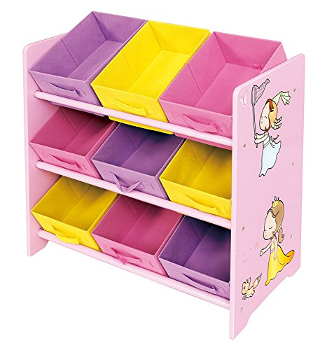 Liberty House Toys Princess Toy Storage Shelf with Nine Fabric Bins, Wood, Multi-Colour Best Price and Cheapest