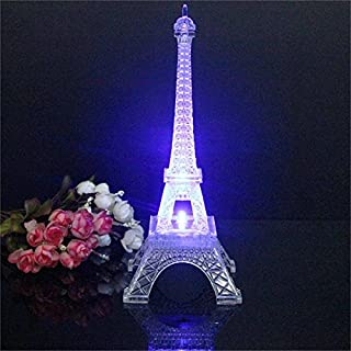 Aliciashouse Mini Color Changing Eiffel Tower Night Light LED Table Lamp Desk Bedroom Decor -25cm