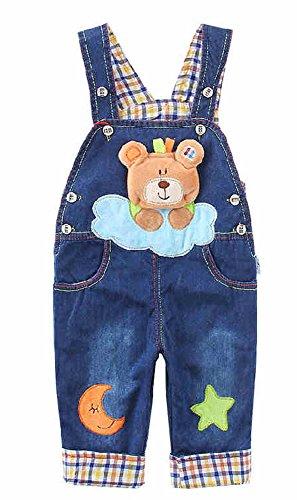 3D Baby Kinder Baumwolle Bärenmuster Latzhosen Kinder Jeans Hosen Jungen Mädchen Jeanshose Overall