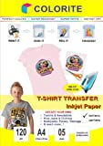 Colorite T-shirt Transfer Inkjet Paper Dark Fabrics A4 / 5 sheets