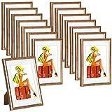 WOLTU #315 Bilderrahmen Bildergalerie Fotogalerie mit Passepartout, Foto Collage Galerie, Kunststoff und Echtglas, New Life Style, Bronze, 13x18 cm, 15er Set