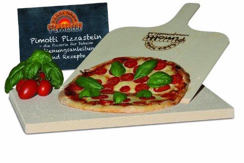 2cm Pimotti Pizzastein/Brotbackstein aus Schamott +Schaufel +Anleitung & Rezepte im Set