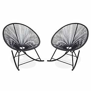 Alice's Garden - 2 fauteuils à bascule design Oeuf - Acapulco rocking Gris - Fauteuils design, rocking chair, cordage PVC par lot de 2
