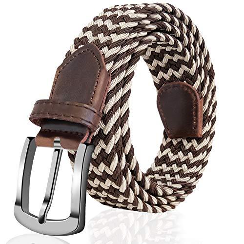 Dynamic Mens Fashion Stretch Braided Elastic Woven Canvas Double Metal Buckle Belt Waistband Waist Straps Men Weaving Belt Refreshment Girl's Belts Apparel Accessories