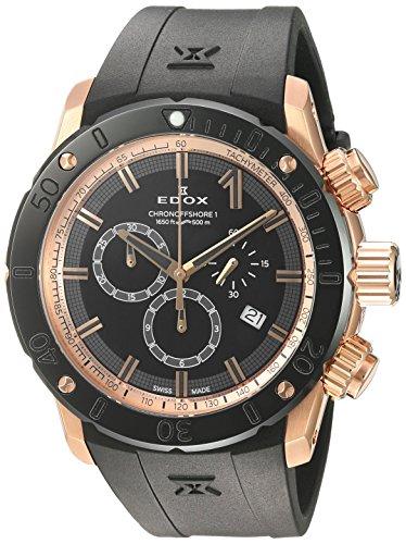 Edox Men's Analog Swiss-Quartz Watch with Rubber Strap 10221 37R NIR