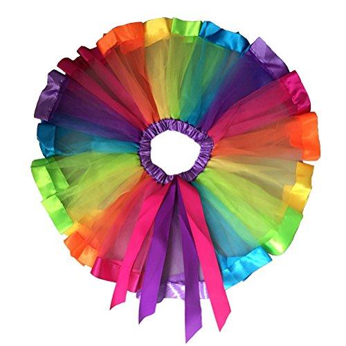 Pixnor Mädchen geschichteten Regenbogen Tutu Rock Tanz Kleid Ruffle Tier Nachmittagskleid Größe (Regenbogen Mädchen Kostüme)