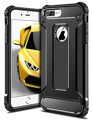 iPhone 7 Plus Hülle, Coolden Premium Outdoor Case Doppelte Schutz Soft Flex Silikon TPU + Schlanke PC Bumper Cover Militärstandard Stossfest Schutzhülle für iPhone 7 Plus Chic Handyhülle iPhone 7 Plus Schwarz