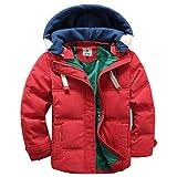 OMSLIFE Winterjacke für Kinder Jungen Mädchen verdickte Daunenjacken Mantel Trenchcoat Outerwear mit Kapuzen (110cm-120cm, Rot)