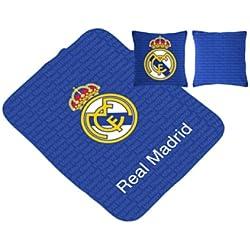 Real Madrid CF Manta Escudo Multiusos + Cojín Azul 130 x 160 cm