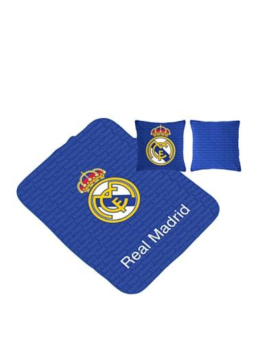 Real Madrid CF Manta Escudo Multiusos + Cojín Azul