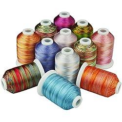 Simthreads 12 Multi Farben Polyester Stickgarn - 1,000 Meters, für Brother/Babylock / Janome/Kenmore / Singer Stickmaschine (12 Faben - MU)