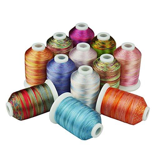 Simthreads 12 Multi Farben Polyester Stickgarn - 1,000 Meters, für Brother/Babylock/Janome/Kenmore/Singer Stickmaschine (12 Faben - MU) -