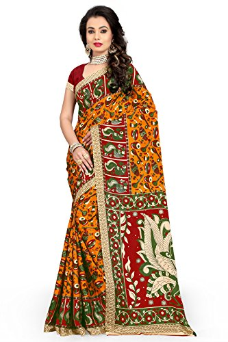 Veronica Closet Women's Crepe Printed Saree with Blouse piece material